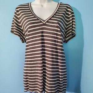 J. Crew gray/white striped T shirt